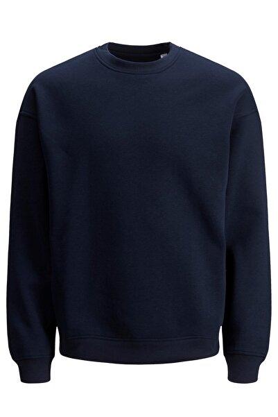 Jack & Jones Erkek Düz Mavi Sweatshirt - 12186363