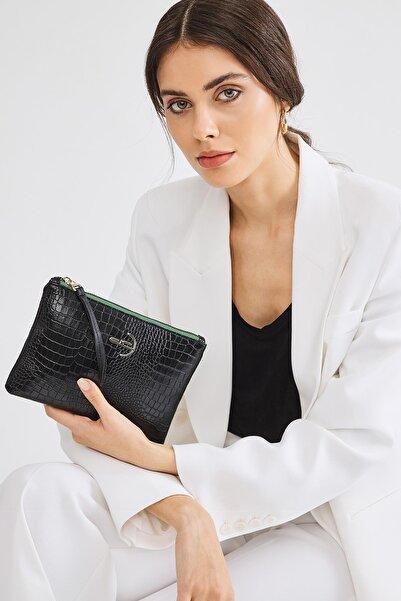 Deri Company Kadın Siyah Basic Clutch Çanta Kroko Timsah Desen 4031-s 214030