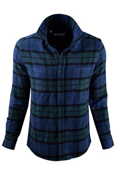 Ottomoda Mavi Yeşil Ekose Desenli Oduncu Gömlek