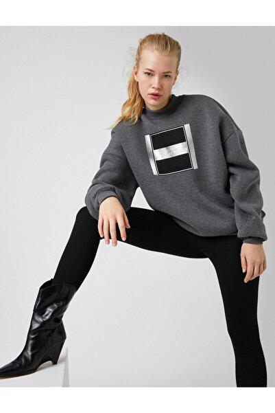 Koton Dik Yaka Baskılı Sweatshirt