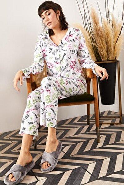Kadın Ekru Yazılı Desenli Pijama Takımı PJM-00000002