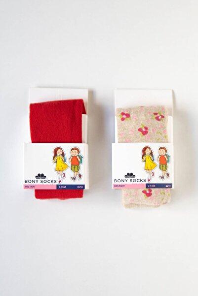 Katia&Bony Kız Çocuk Kırmızı / Bej Külotlu Çorap 2'li
