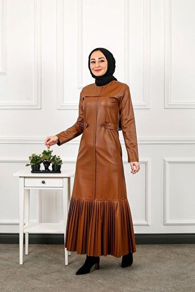 ELBİCA Eteği Piliseli Deri Elbise 3001 Kahve