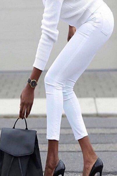 JANES Kadın Beyaz Yüksek Bel Likralı Pantolon