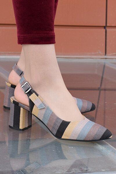 Cruze Kadın Desenli Kısa Topuk Arkası Açık Topuklu Ayakkabı