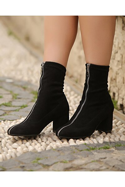 Gamze Shoes Kadın Siyah Süet Önden Fermuarlı Bot