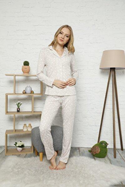 Çekmece Kadın Bej Düğmeli Uzun Kol Pamuklu Pijama Takım