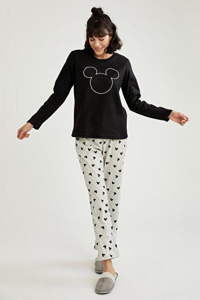 DeFacto Mickey Mouse Lisanslı Uzun Kollu Polar Pijama Takımı