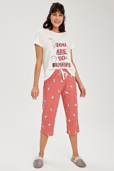 DeFacto Kadın Pembe Yazı Baskılı Pijama Kısa Kol Takımı