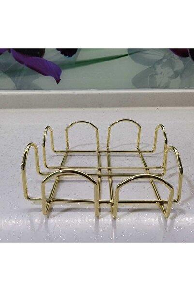 Tiydem Altın Kaplama Gold Paslanmaz Dolu Çelik Peçetelik 18x18x7 Cm