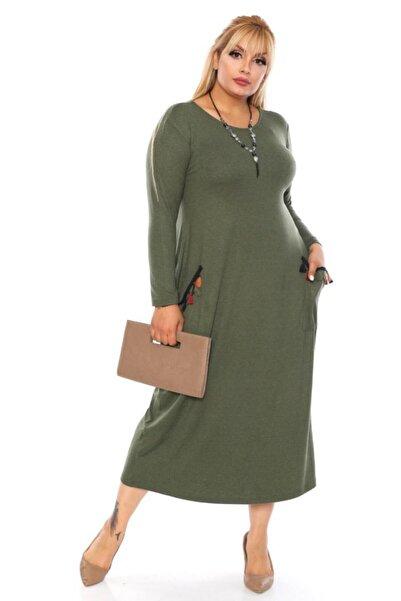 Pelek Butik Büyük Beden Cep Püskül Detay Elbise-haki Pe248