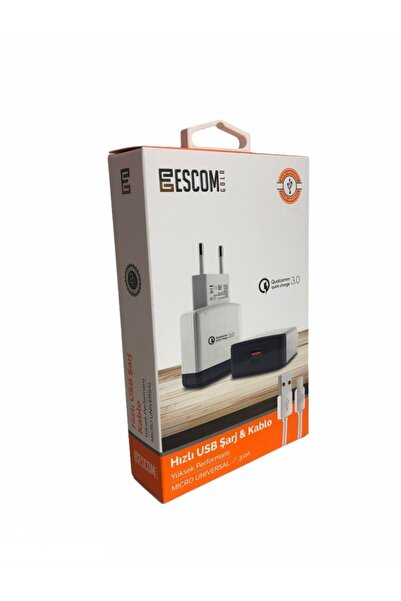 Escom 3.0 Amper 1 Metre Hızlı Usb Şarj Kablosu