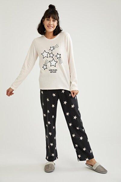 DeFacto Kadın Siyah Yıldız Baskılı Uzun Kollu Polar Pijama Takımı