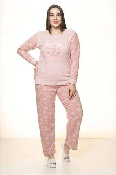 Moday Kadın Pembe Polar Wersoft Kışlık Pijama Takımı 32c-1520