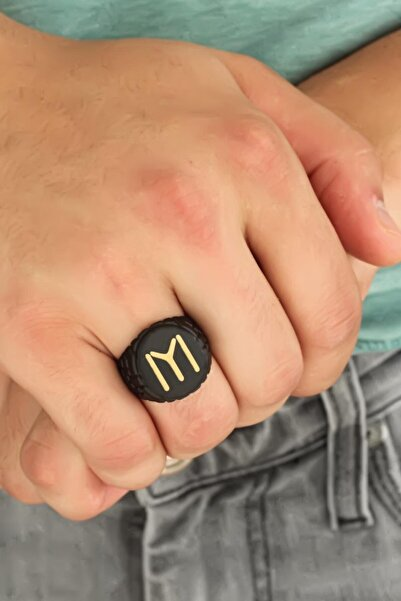 Moco Kayı Boyu Figürlü Siyah Renk Metal Ayarlamalı Erkek Yüzük