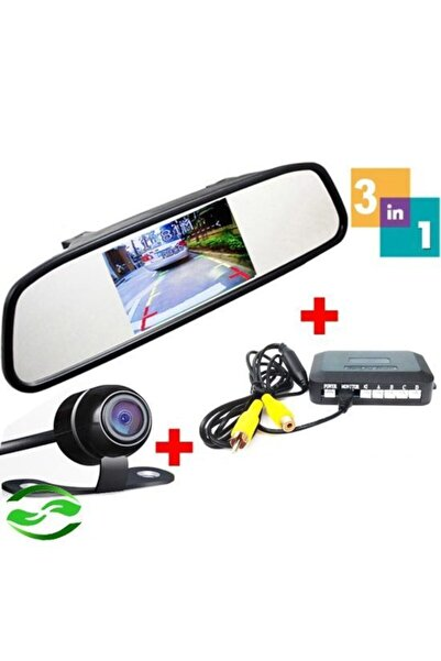 Niken Araç Geri Park Sensörü Kameralı Dikiz Aynası Ekranlı12volt. 22mm Siyah
