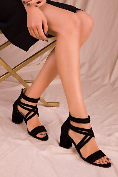 SOHO Siyah Suet Kadın Klasik Topuklu Ayakkabı 14670