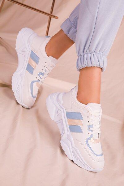SOHO Beyaz-Mavi Kadın Sneaker 15242