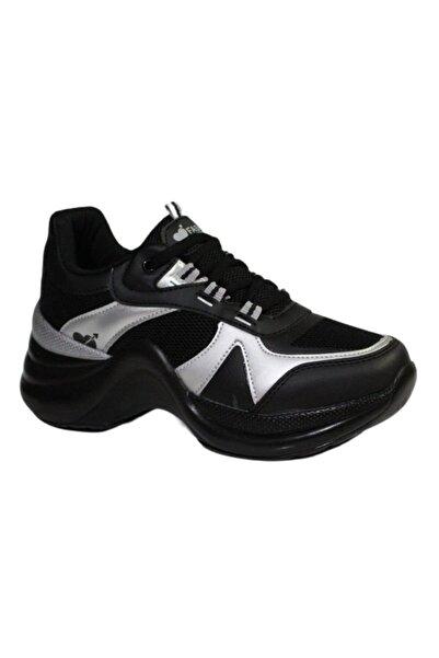 Twingo Kadın Siyah Gri Kalın Taban Yürüyüş Spor Ayakkabı 601
