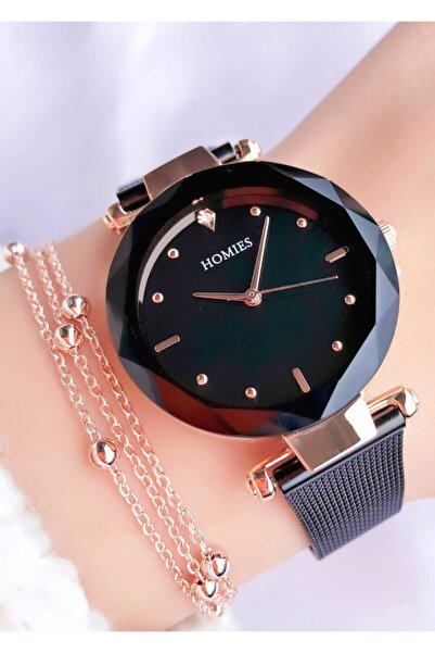 Homies Kadın Siyah Kesme Cam Saat ve Bileklik