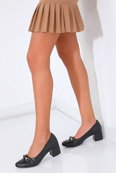 julude Kadın Siyah Tokalı Klasik Topuklu Ayakkabı