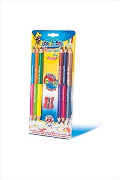 CARIOCA Carioca Çift Renkli Jumbo Kuru Boya Kalemi 6'Lı (12 Renk) (Kalemtraş /