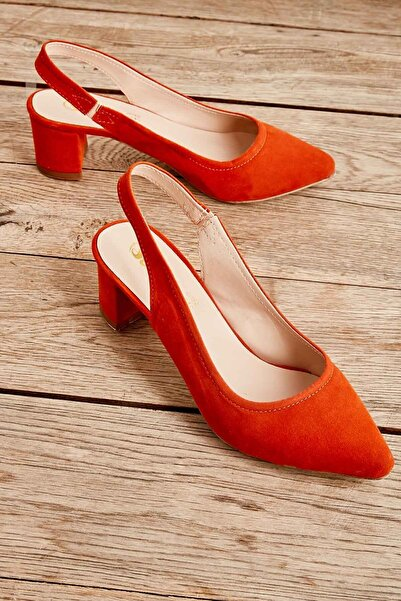Bambi Oranj Süet Kadın Klasik Topuklu Ayakkabı K01503721072