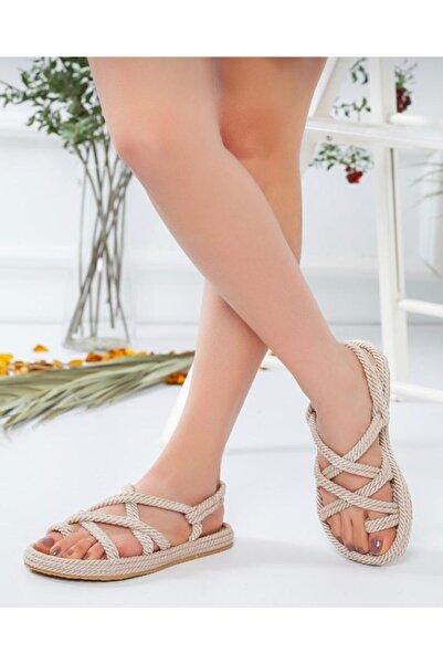 AYKMAR Kadın Halat Sandalet Krem