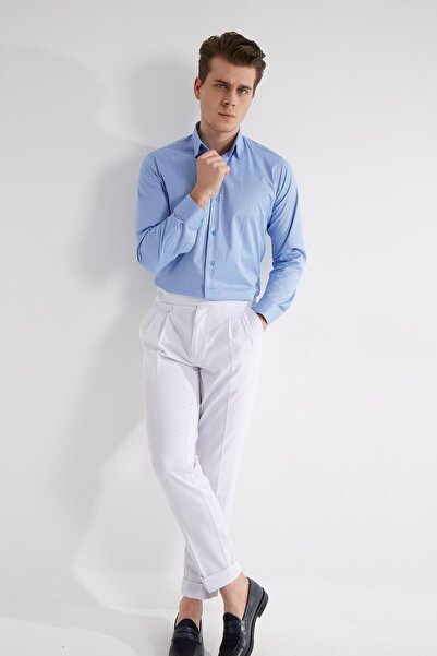 Fc Plus Erkek Mavi Düz Pamuk Gömlek - Slım Fıt