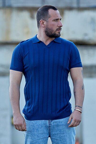 Karpefingo Erkek Lacivert Fitilli Polo Yaka Triko T-shirt