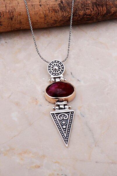 Sümer Telkari Kök Yakut Antik Tasarım Elişi Gümüş Kolye 7052