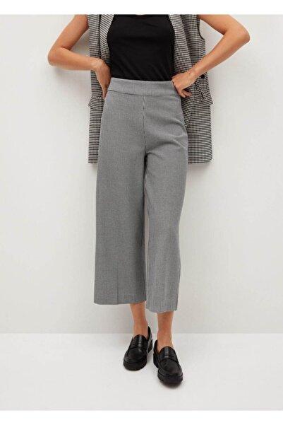 MANGO Woman Kadın Beyaz Geniş Kesim Desenli Pantolon