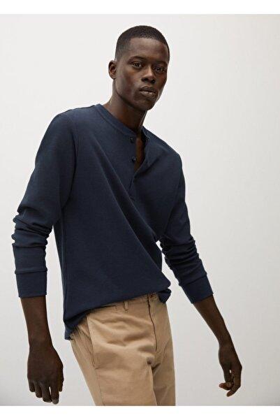 MANGO Man Erkek Lacivert Henley Yaka Uzun Kollu Tişört