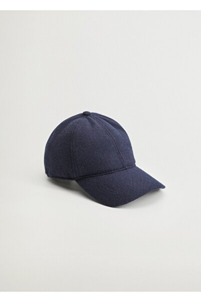 MANGO Man Erkek Lacivert Yünlü Beysbol Şapkası