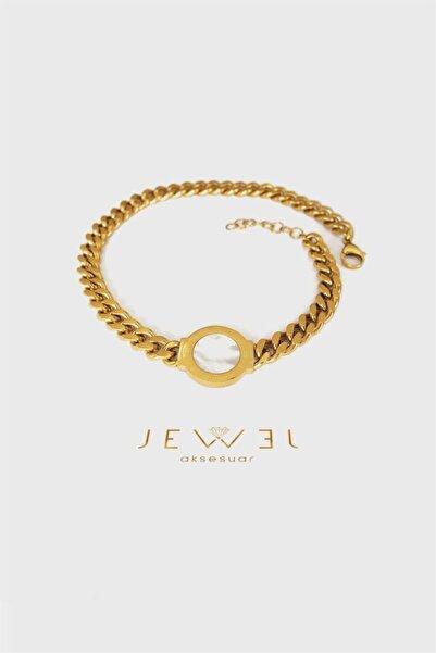 Jewel Çift Tur Beyaz Plaka Gold Altın Kaplama Bileklik