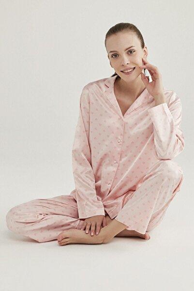 Penti Pembe Saten Hearts Pijama Takımı