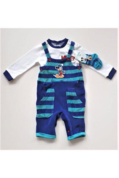 Mickey Mouse Erkek Bebek Kadife Salopet Tulum Çorap Takım
