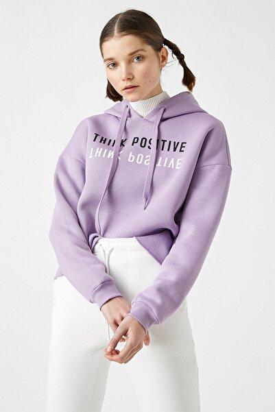 Koton Kadın Lila Pamuklu Kapüşonlu Yazılı Baskılı Sweatshirt 1yal68038ık