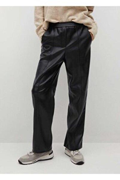 Deri Görünümlü Düz Kesim Pantolon