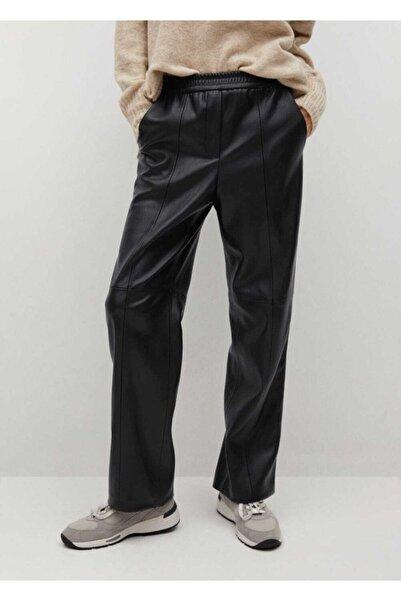 MANGO Woman Deri Görünümlü Düz Kesim Pantolon
