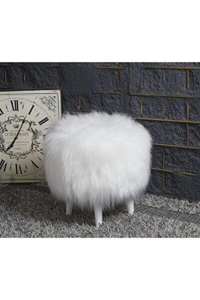 Pufidik Beyaz Dekoratif Peluş Puf Ayak Uzatma Makyaj Masası İçin Uygun Yogun Tüylu Tabure Puf