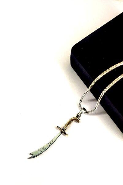 Piraye Silver 925 Ayar Gümüş Oksitli Zincirli Çift Yönlü Zülfikar Kolye Hz. Ali