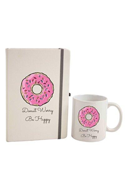 hediyerengi Donut Worry Be Happy Defter Ve Kupa Bardak Seti