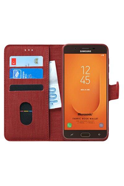 Samsung Microsonic Galaxy J7 Prime 2 Kılıf Fabric Book Wallet Kırmızı