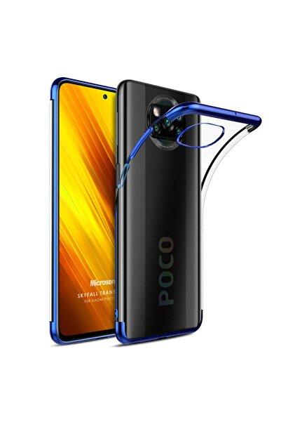 Xiaomi Microsonic Poco X3 Nfc Kılıf Skyfall Transparent Clear Mavi