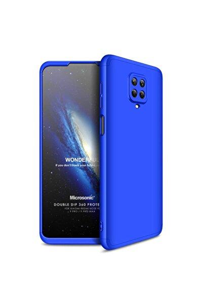 Xiaomi Microsonic Redmi Note 9 Pro Kılıf Double Dip 360 Protective Mavi