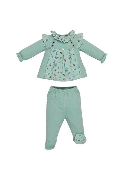 Miniyastore Kız Bebek Mint Yeşili  Çiçek Desenli Patikli Alt Üst Takım