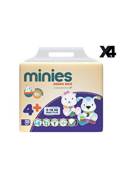 Minies 4+ Numara Bebek Bezi 38x4=152 Adet 4'lü Set