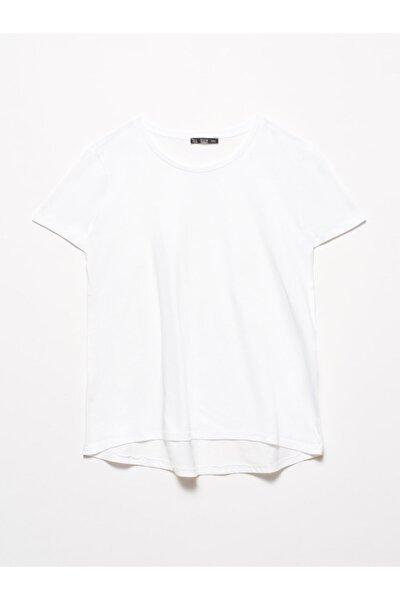 Dilvin 3471 Bisiklet Yaka Basic T-shirt-beyaz