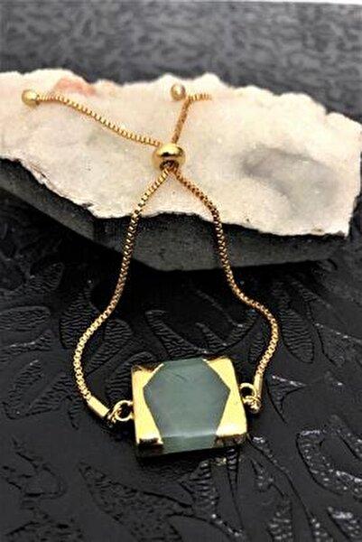 Dr Stone Golden Aventurin Taşı 22k Altın Kaplama El Yapımı Kadın Bileklik Tkrb18